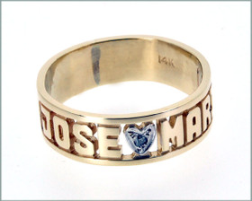 "14K Yellow Gold ""Jose &  Maria"" And Heart Name Ring 13300008"
