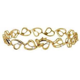 "14K Yellow Diamond 7"" Hearts Bracelet 21000408"