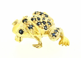 80000532 Sterling Silver Sapphire Frog Tie Pin