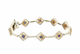 21000010 14K Two Tone Gold Diamond and Sapphire Fancy Link Bracelet