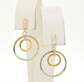 40001783 14K Two Tone Gold Hanging Earrings