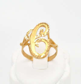 "14K Yellow Gold Initial ""C"" Ring 10016357"
