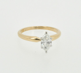 14K Yellow Gold .63ct Marquis  Diamond Engagement Ring