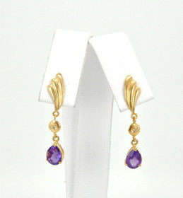 14K Yellow Gold Amethyst Hanging Earrings 42001923 By Shin Brothers Jewelers Inc