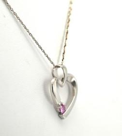 52001404 14K White Gold Diamond/Pink Sapphire Heart Charm