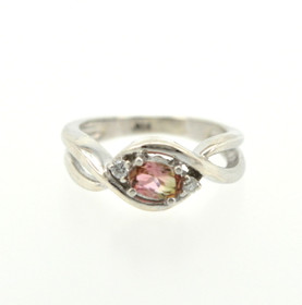 81010190 Sterling Silver Diamond/Tourmaline Ring