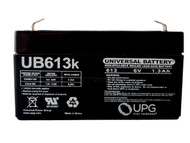 6V / 1.3Ah Sealed Lead Acid Battery with F1 (.187in) Terminals - PWPC136F1 Front| batteryspecialist.ca