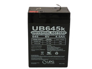 6 Volt 4.5 Ah New Battery for Hubbell 0120255 or Dual-Lite 12-255 Front View | Battery Specialist Canada