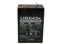6V / 4.5Ah Sealed Lead Acid Battery with F1 (.187in) Terminals - UVUB645F1 - 3 Pack Front View | Battery Specialist Canada