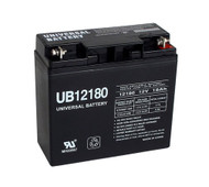 12V / 18Ah Sealed Lead Acid Battery with Nut and Bolt Terminals - UVUB12180B1 Side View | Battery Specialist Canada