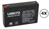 RB0670X4 Universal Battery - 6 Volts 7Ah - Terminal F1 - UB670 - 4 Pack| Battery Specialist Canada
