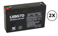 RB0690X2 Universal Battery - 6 Volts 7Ah - Terminal F1 - UB670 - 2 Pack| Battery Specialist Canada