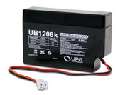 "12 Volts 0.8Ah - w/JST Connector - 8.5"" Wire Leads - UB1208 