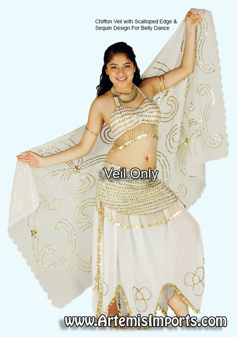 Chiffon Veil With Scalloped Edge & Sequin Design for Belly Dance ~ White / Gold