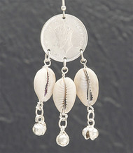 Cowrie Shell & Coin Silver Tone Earring
