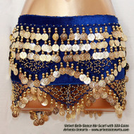 Belly Dance Hip Scarf - Velvet with 320 Coins Royal Blue Stretch Velvet and Gold Coins