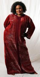 Vintage Caftan in Ruby Red/Silver Shimmer Velvet
