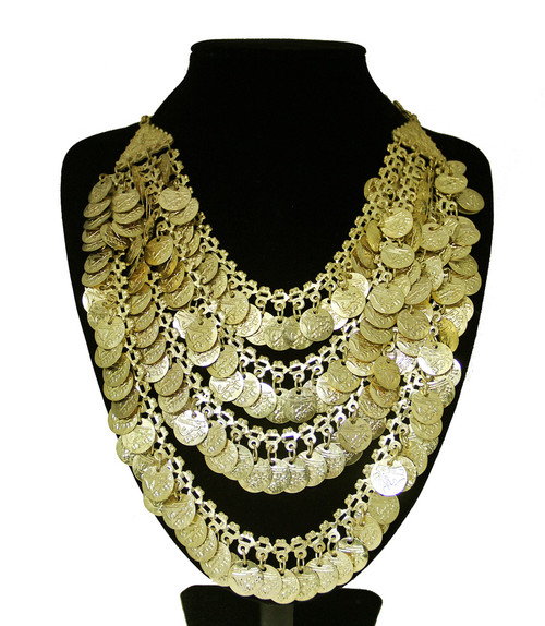 Belly Dance Necklace with Four Rows of Coins - Gold