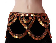 Smooth Copper & Antique Gold Tone Looped Coin Belly Dance Belt