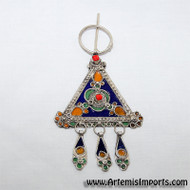 Fibulae from Morocco  ~ Triangle Green, Red, Blue & Yellow - Belly Dance