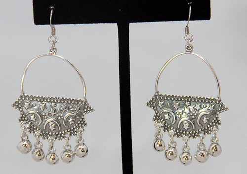 Sterling Silver Earrings ~ Arabesque Stars and Crescent Moon for Belly Dance