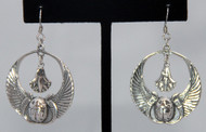 Sterling Silver Earrings ~ Egyptian Hoop with Winged Cobra, Scarab and Dangling Lotus Flower for Belly Dance