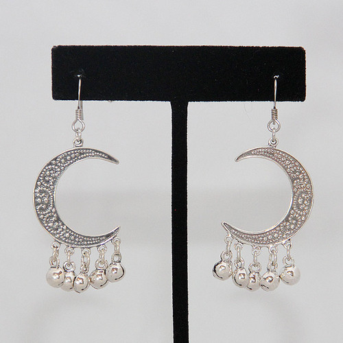 Sterling Silver Earrings ~ Arabesque Crescent Moons with Hanging Beads for Belly Dance