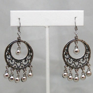 Sterling Silver Earrings ~ Arabesque Hoop with Hanging Beads for Belly Dance