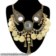 Belly Dance / Tribal Necklace With Mirror Medallions, Coins, Binty Bells & Metal Tassels - Gold Tone