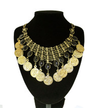 Belly Dance Necklace ~ Wire Mesh With Oval Resin Stone & Coins - Gold