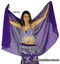 Belly Dance Half Circle Chiffon Veil With Crystals - Purple