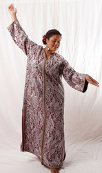 Vintage Caftan in Maroon and Silver