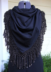 Shikkatt Square Scarves With Lurex Looped Fringe & Mozunas From Morocco - Belly Dance (MO-4C)