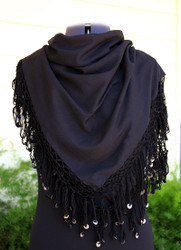 Shikkatt Square Scarves With Looped Fringe & Mozunas From Morocco - Belly Dance (MO-4A)