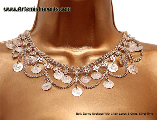 Belly Dance Necklace With Chain Loops & Coins - Silver Tone