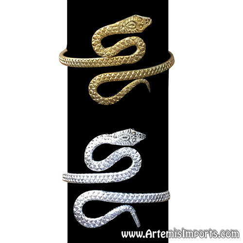 Upper Arm Thick Snake Bracelet for Belly Dance - Gold or Silver