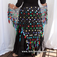 Belly Dance Crochet & Paillettes Shimmer Shawls Hip Wrap - Multi-Colored Paillettes / Black & Silver Lurex Thread