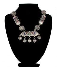 Berber Silver Tone Bead and Enamel Moroccan Necklace