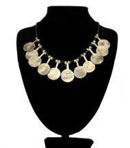 Berber Beaded Moroccan Necklace with 11 Coins and Black Beads