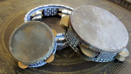 Egyptian Tambourine Small 5 Inches is $19 in gold tone cymbals only. Large 8 inches is $32 in silver tone cymbals only.