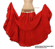 "Belly Dance / Tribal / Gypsy - Cotton 7 Yard Gypsy Skirt in Red - Lovely full 4 tier, 7-yard skirt is lightweight and comfortable. One size fits approximately size 4 to size 14. This skirt has an elastic waistband with drawstring to fit approximately 27"" to 46"" hip; length approximately 37"".  Red."