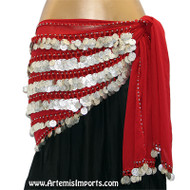 Red/Silver - Belly Dance Coin Hip Scarf - Five-Row Egyptian Coin Hip Scarf