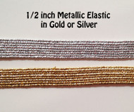 Belly Dance Make It Yourself ~ Elastic Metallic in Gold or Silver ~ 1/2 inch