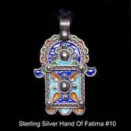 Hand of Fatima, Hamsa – Tuareg Sterling Silver Enamel Pendant From Morocco #10