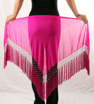 Belly Dance Triangle Chiffon Hip Scarf With Beads and Tassels