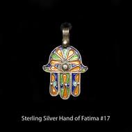 Hand of Fatima, Hamsa – Tuareg Sterling Silver Enamel Pendant From Morocco #17