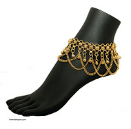 Belly Dance / Tribal Anklet with Chain Loops and Binty Bells in Gold Tone.