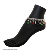 """Belly Dance / Tribal Anklet with Binty Bells and Multi-Color """"Tear Drop"""" Shaped Stones in Silver Tone"""