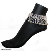Belly Dance / Tribal Anklet with Two Rows of Filigree and Binty Bells in Silver Tone.