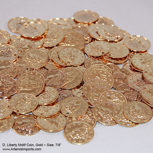 "Belly Dance / Tribal Coins for Costuming, Gold Liberty Motif Coin, 7/8"".  Do it yourself, create your own belly dance costume with these gold tone coins."